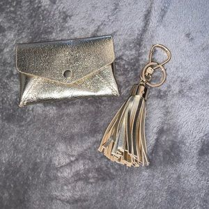 Small gold change pouch & fringe keychain
